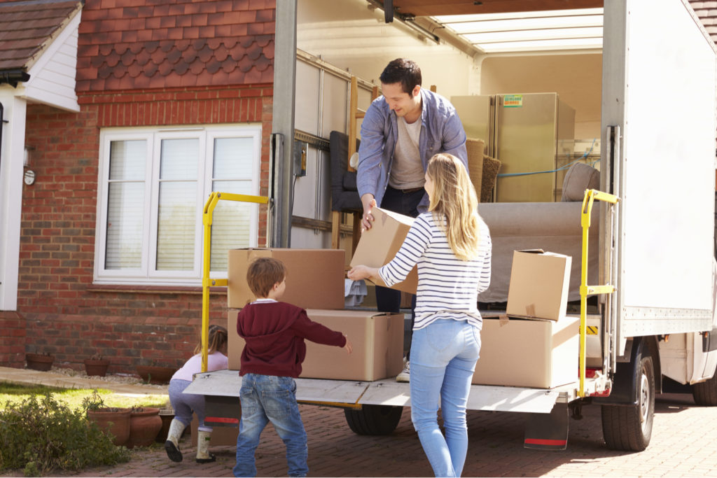 Family Unpacking Truck