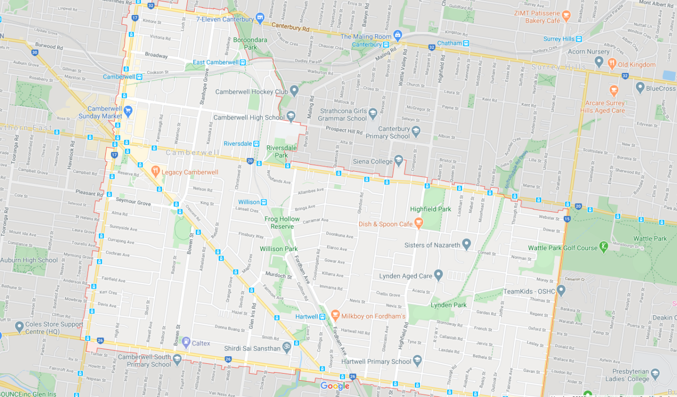 Map of Camberwell