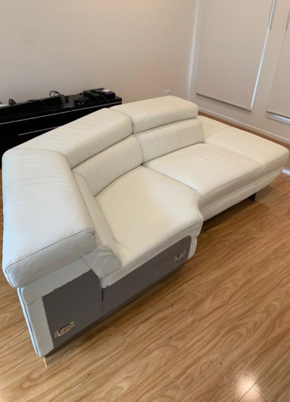oversized white leather couch